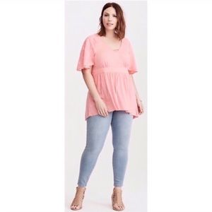 Torrid Pink Slub Embroidered Babydoll Tunic Top